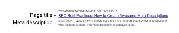 Example of meta description attribute in the SERPs