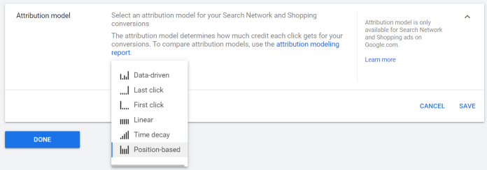 screen shot of attribution model options in a conversion action