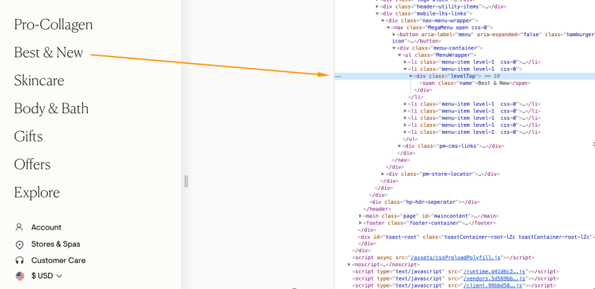 웹 사이트 네비게이션이 크롤링 안 될 경우의 예시 화면