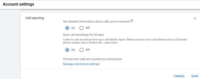 google call reporting