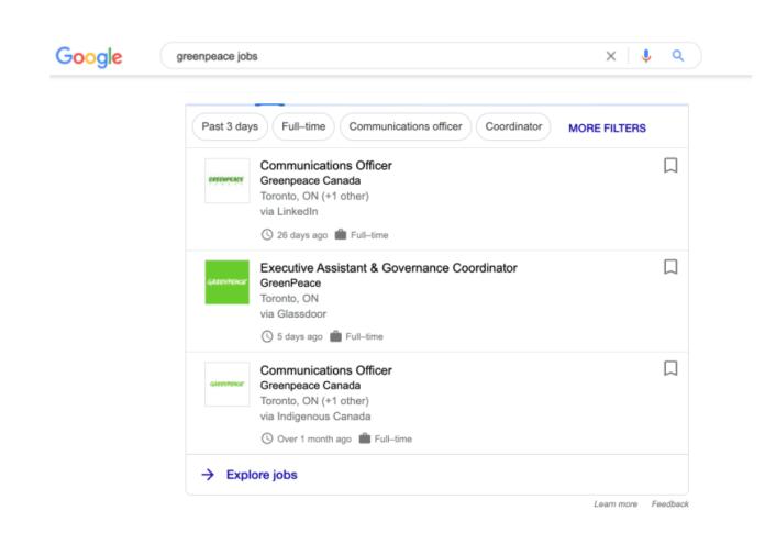 Greenpeace branded jobs search.