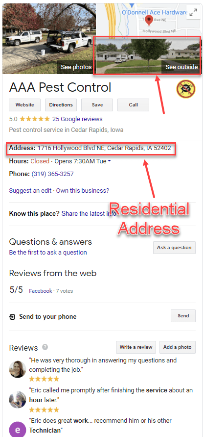 Spammy pest control listing shows a residential address.