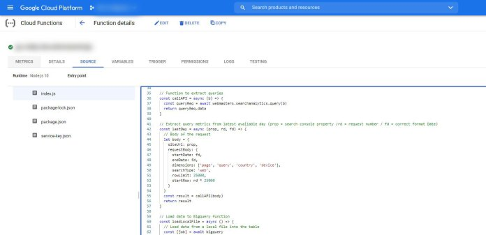 Cloud function exmple to extract search console data and load it to big query.