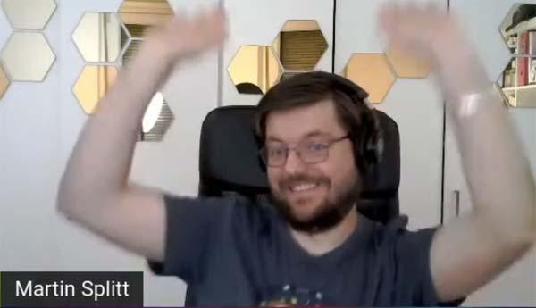 Screenshot of Martin Splitt celebrating success
