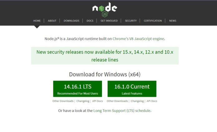 Nodejs homepage screenshot.