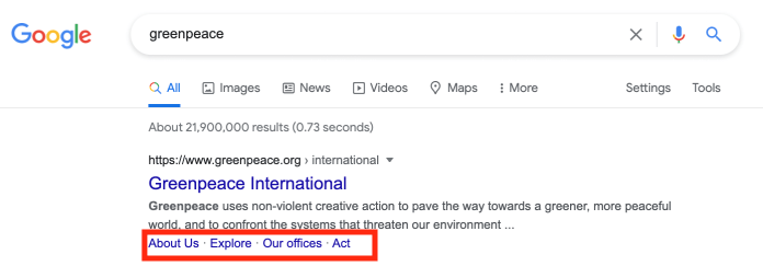 Five Branded GreenPeace search with site links.