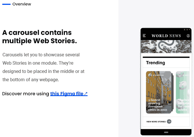 Screenshot showing a page from Google's web stories playbook