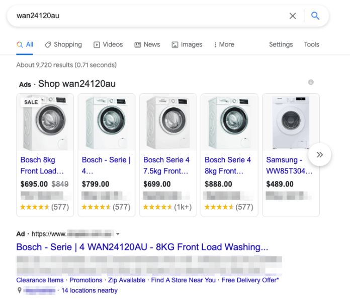 Search by SKU example.