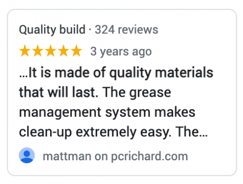 Specific reviews on the product card.