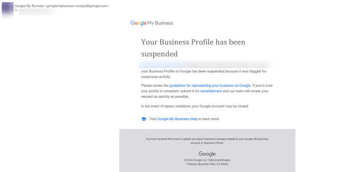 Suspension email from Google.
