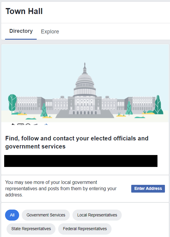 Visit your Facebook Town hall.