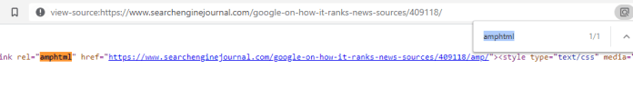 Inspecting the html page source.