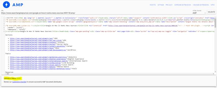 AMP validation tool test using SEJ.