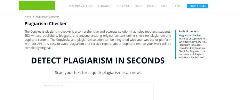 Plagiarism tool of Copyleaks.