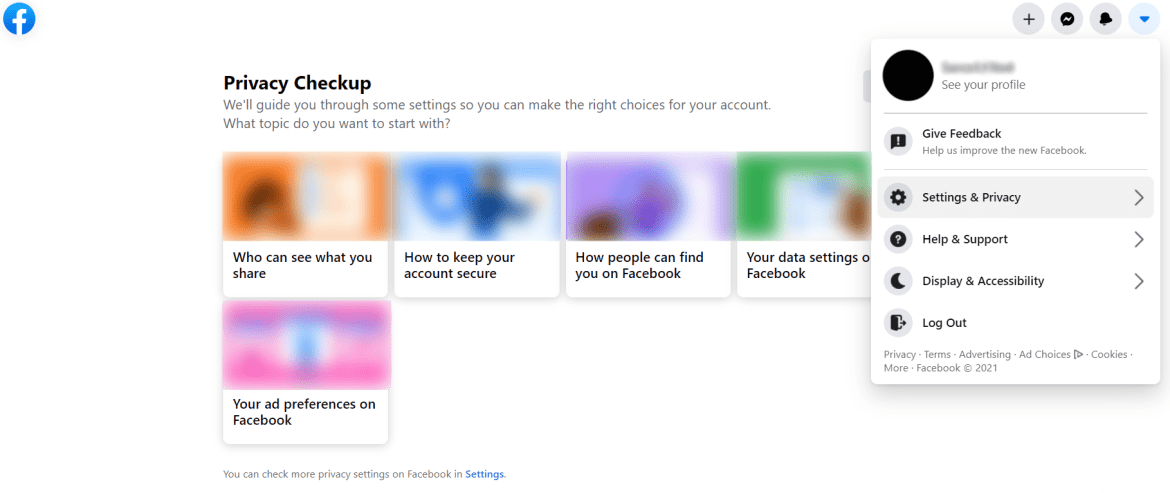 Facebook's privacy checkup feature.