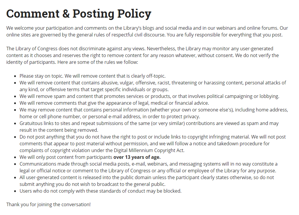 Comment and posting policy of the Library of Congress.