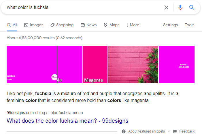 Paragraph Featured Snippets example.