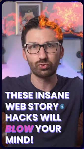 Screenshot showing visual effects possible in Web Stories