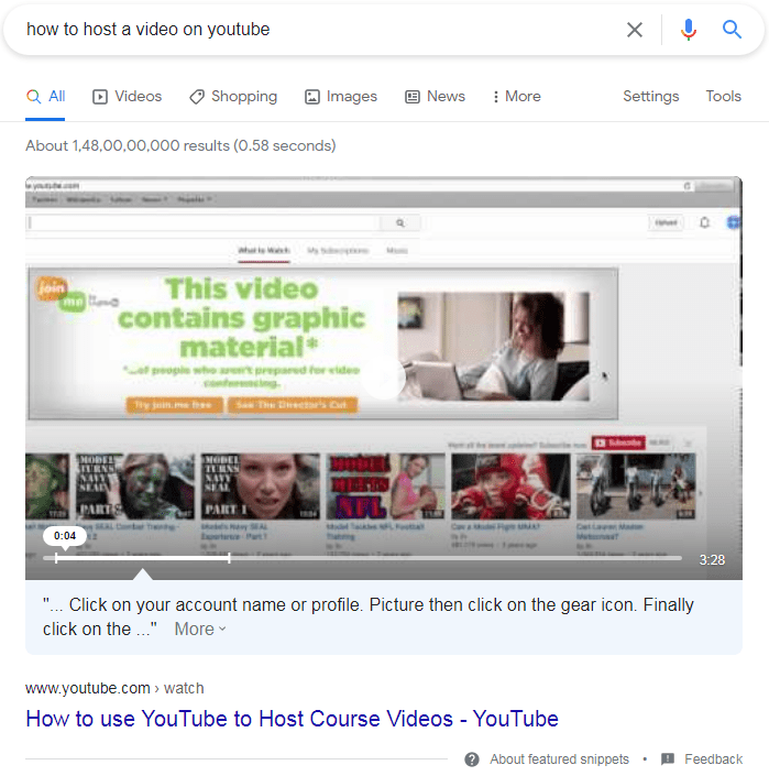 Video featured snippet example.