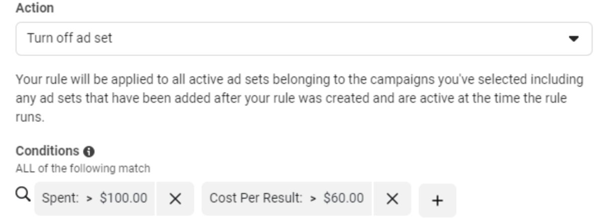 Set rules for ad sets.