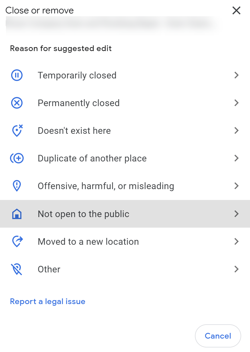 Select not open to the public.