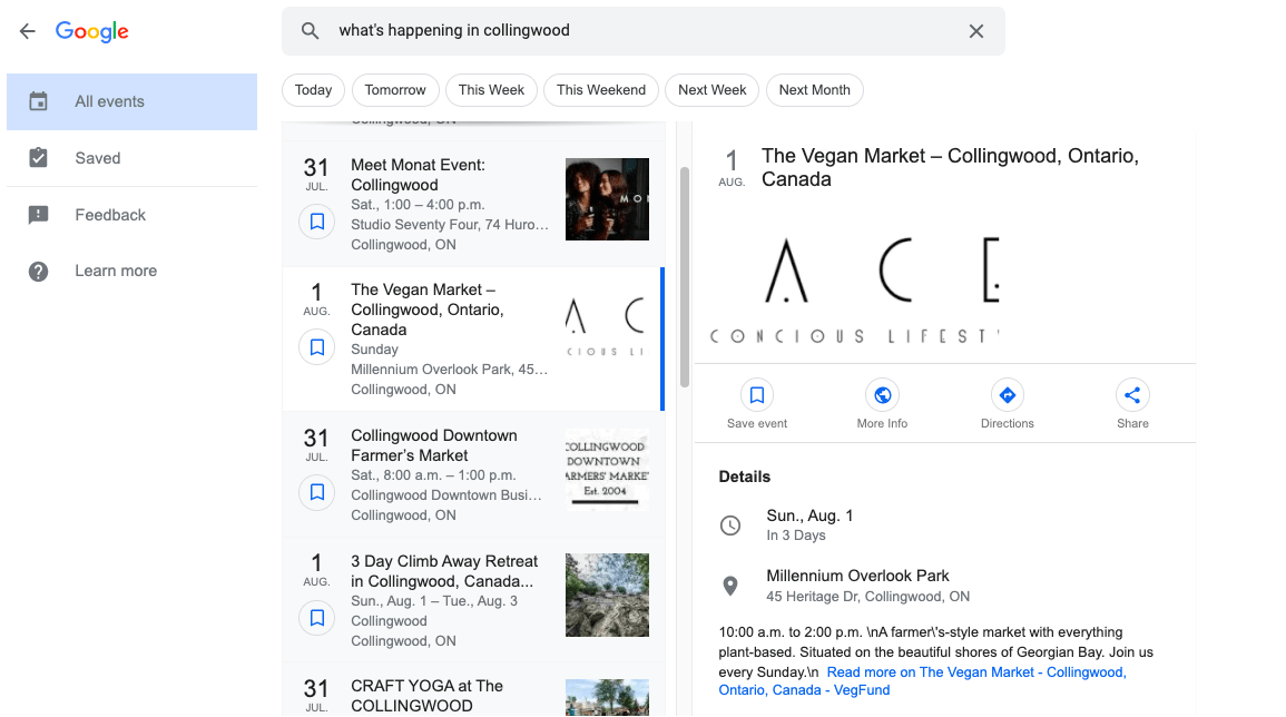 Google Events in local search results