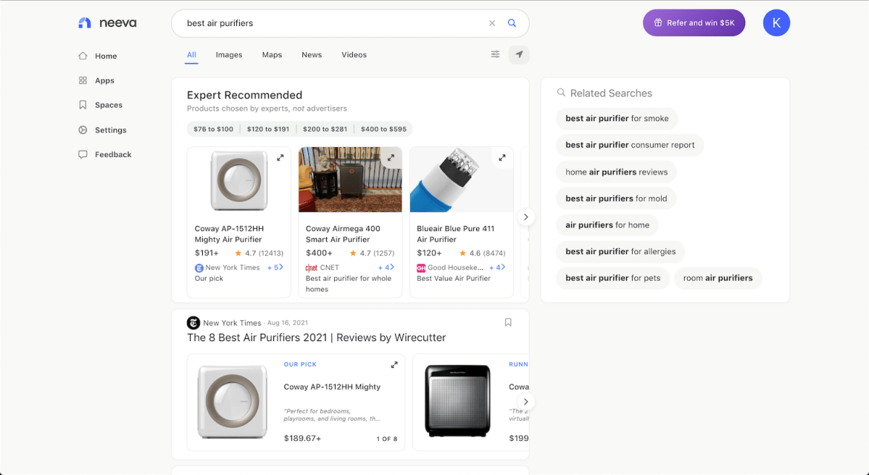 Neeva search engine.