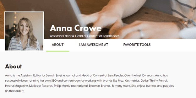An example of an author page.