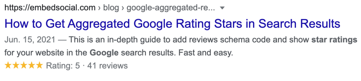 Google star rating post with star ratings present in search engine.