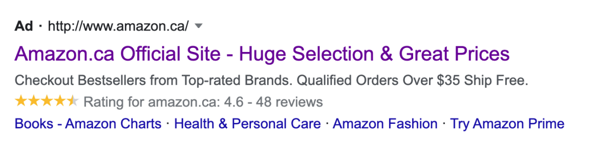 Paid search text ad for Amazon showing star ratings.