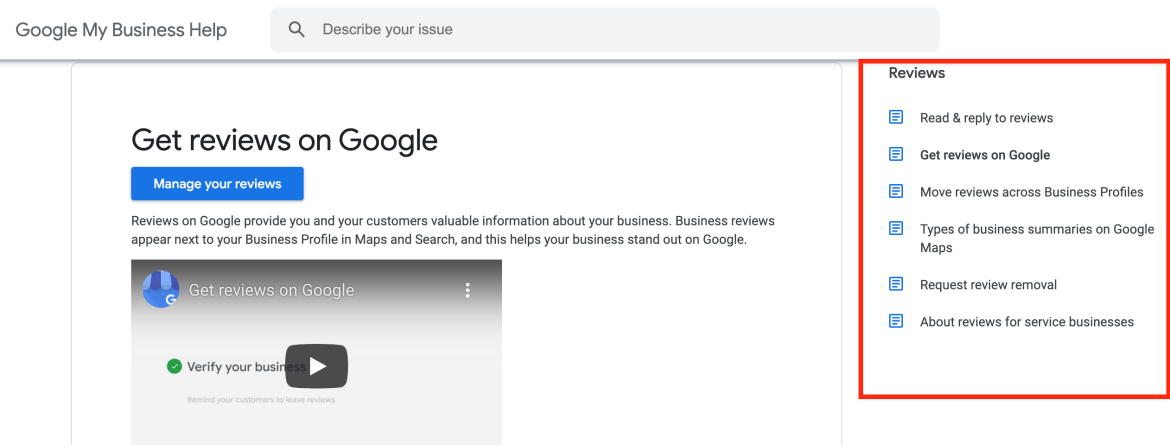 Page on how to manage reviews on Google.
