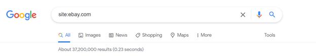Google search for site:ebay.com.