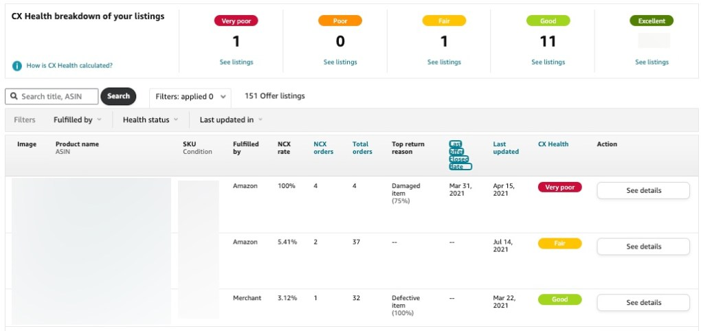 Voice of the Customer for Seller Central helps you to identify products that have had negative customer experiences.