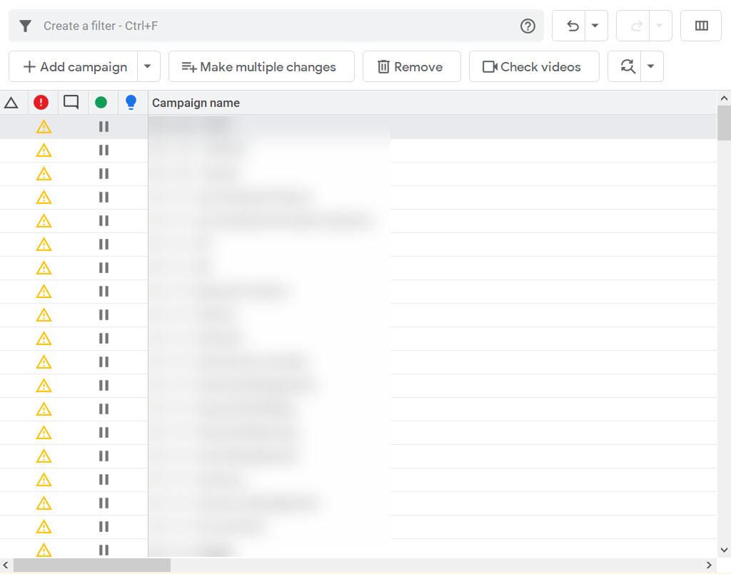 Google Ads Editor showing large Google Ads accounts.