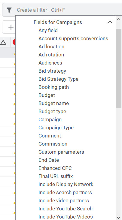 Creating filters in Google Ads Editor.
