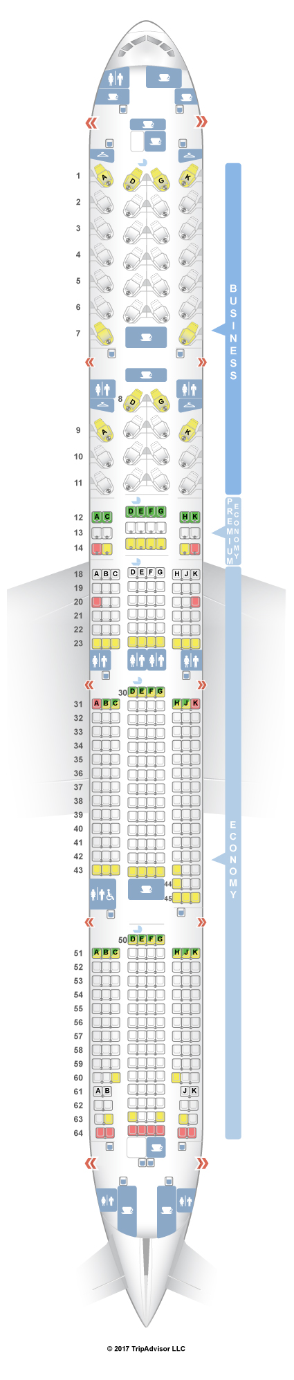 SeatGuru Seat Map Air Canada Boeing 777-300ER (77W) Three Class V1