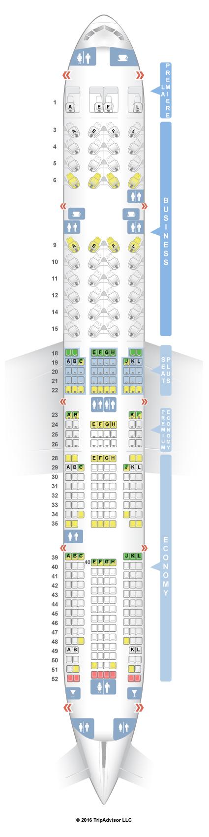 SeatGuru Seat Map Air France Boeing 777-300ER (77W) Four Class V2