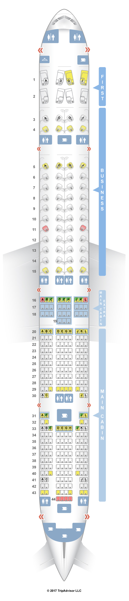 Seating plan for boeing 777 300er for Plan cabine 777 300er