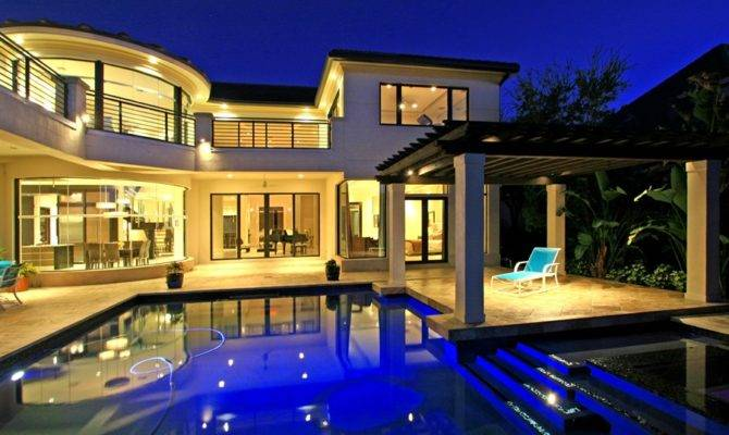 Mansions Pools Night Modern Mansion Kitchen Home Design Jobs Home Plans Blueprints 45459