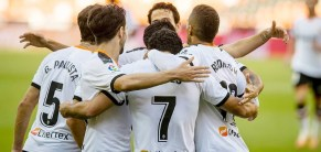 Valencia players celebrating their goal against Osasuna. Photo: CF Valencia.