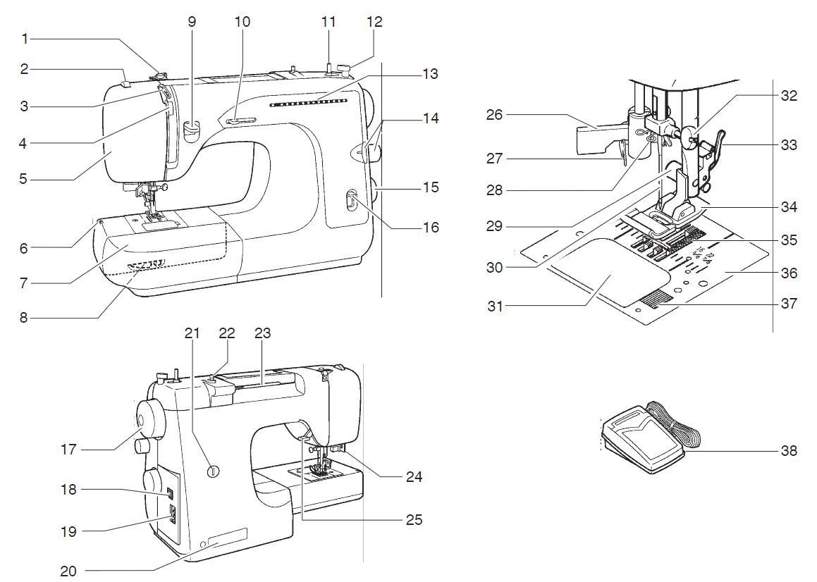 hight resolution of singer 2662 machine parts