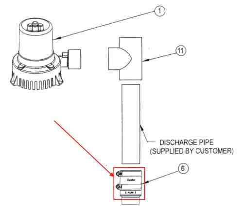 small resolution of sump pump check valve with stainless steel pipe clamps