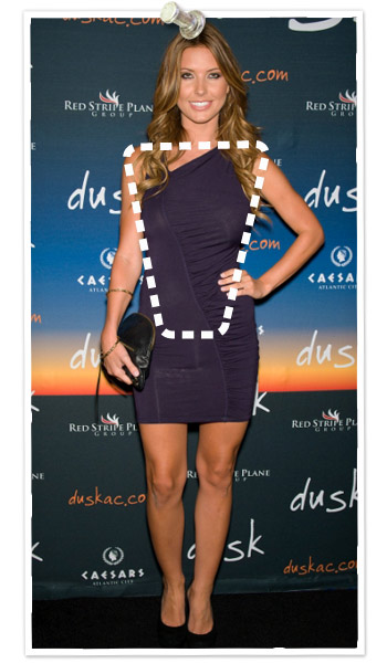 Audrina Patridge has a wedge body shape; also called inverted triangle body type
