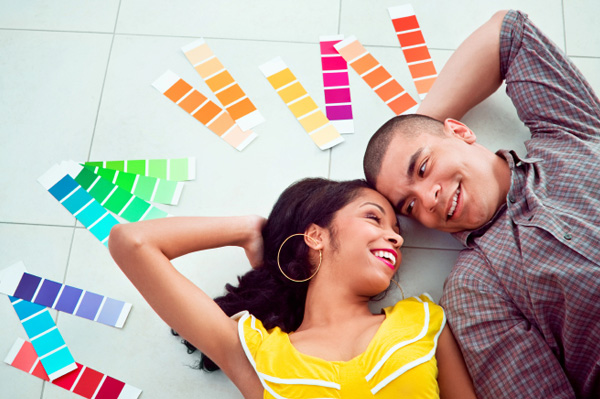 Couple with paint samples