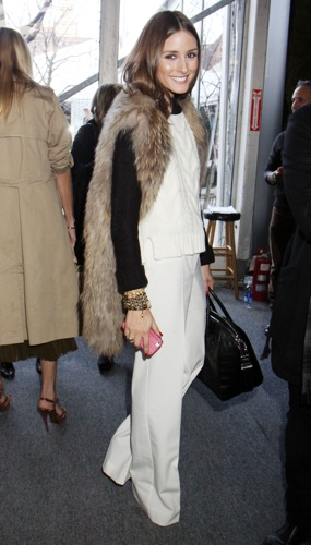 Olivia Palermo fur vest
