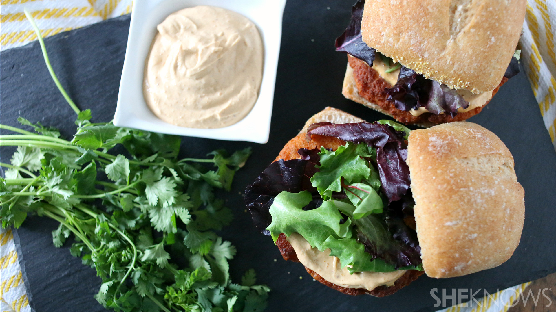 Thai salmon burgers with peanut butter sauce