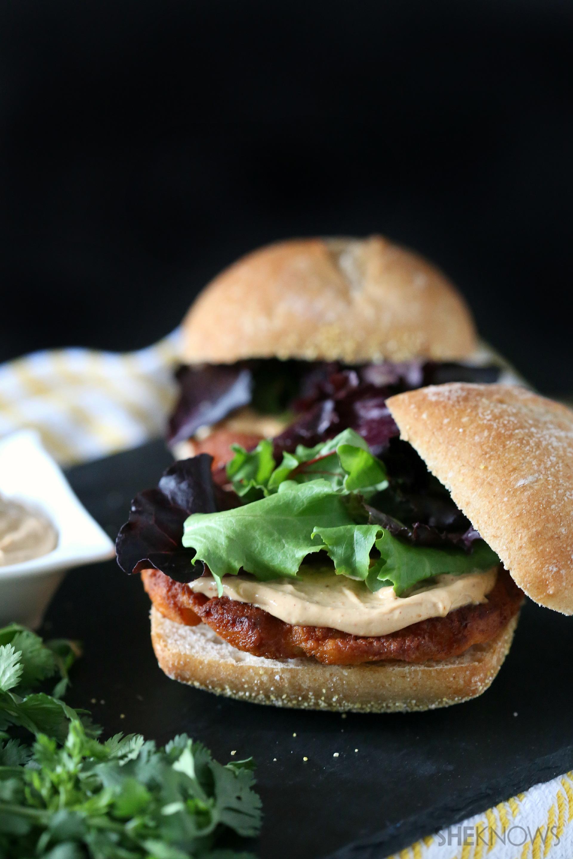 Thai salmon burgers with peanut butter sauce