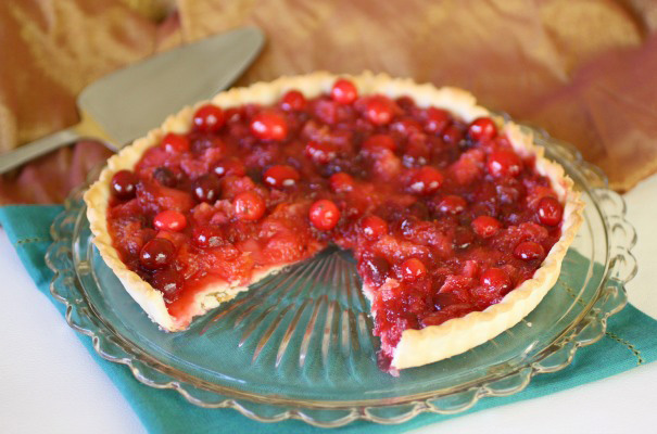 Crimson cranberry-orange tart