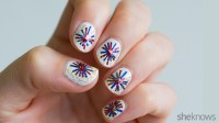 Fourth of July fireworks nail design