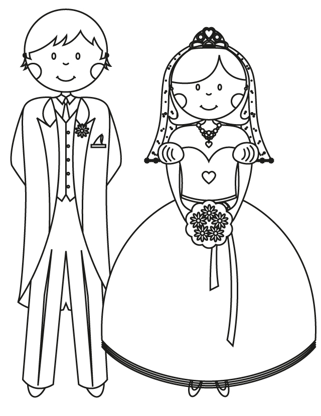 Wedding coloring pages: Bride and groom